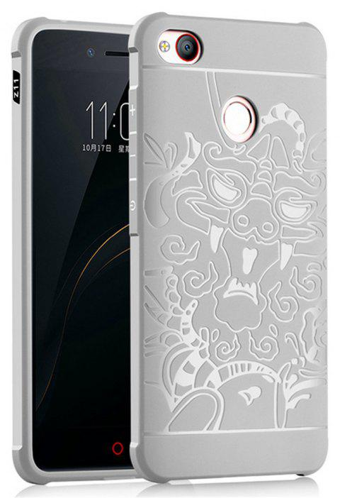Shockproof Soft Silicone Cover for Nubia Z11 MiniS Case Dragon Pattern Fashion Full Protective Phone Case - GRAY