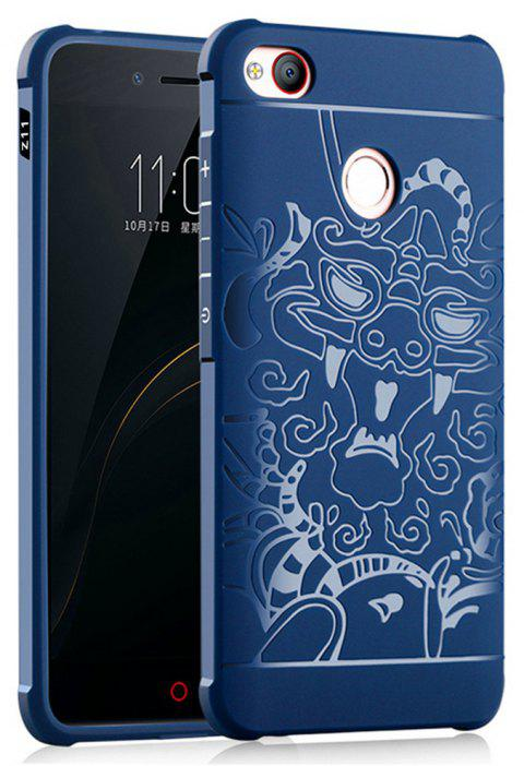 Shockproof Soft Silicone Cover for Nubia Z11 MiniS Case Dragon Pattern Fashion Full Protective Phone Case - BLUE