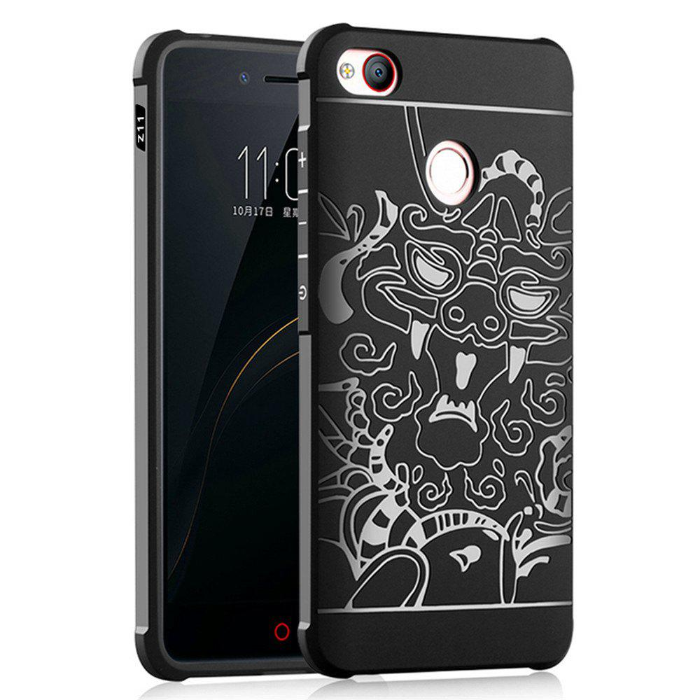 Shockproof Soft Silicone Cover for Nubia Z11 MiniS Case Dragon Pattern Fashion Full Protective Phone Case - BLACK