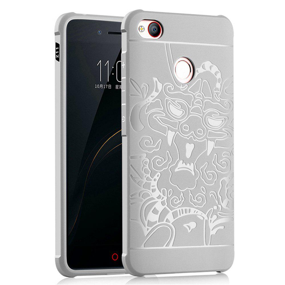Shockproof Soft Silicone Cover for Nubia Z11 Case Dragon Pattern Fashion Full Protective Phone Case - GRAY