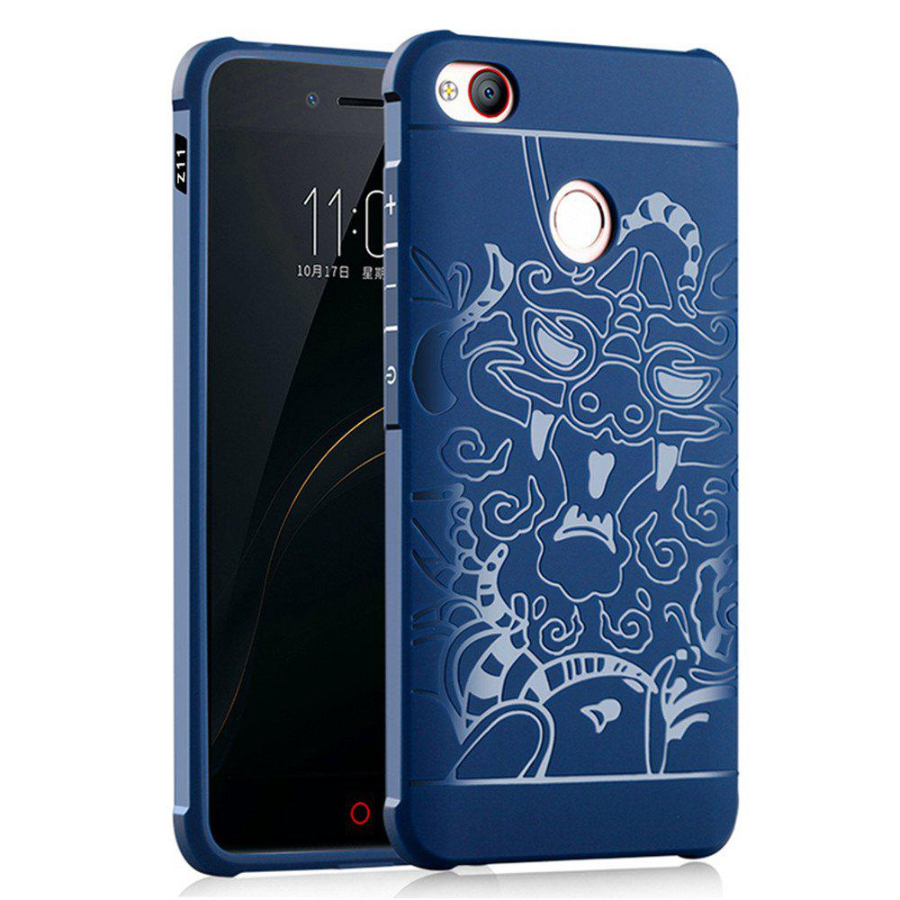 Shockproof Soft Silicone Cover for Nubia Z11 Case Dragon Pattern Fashion Full Protective Phone Case - BLUE