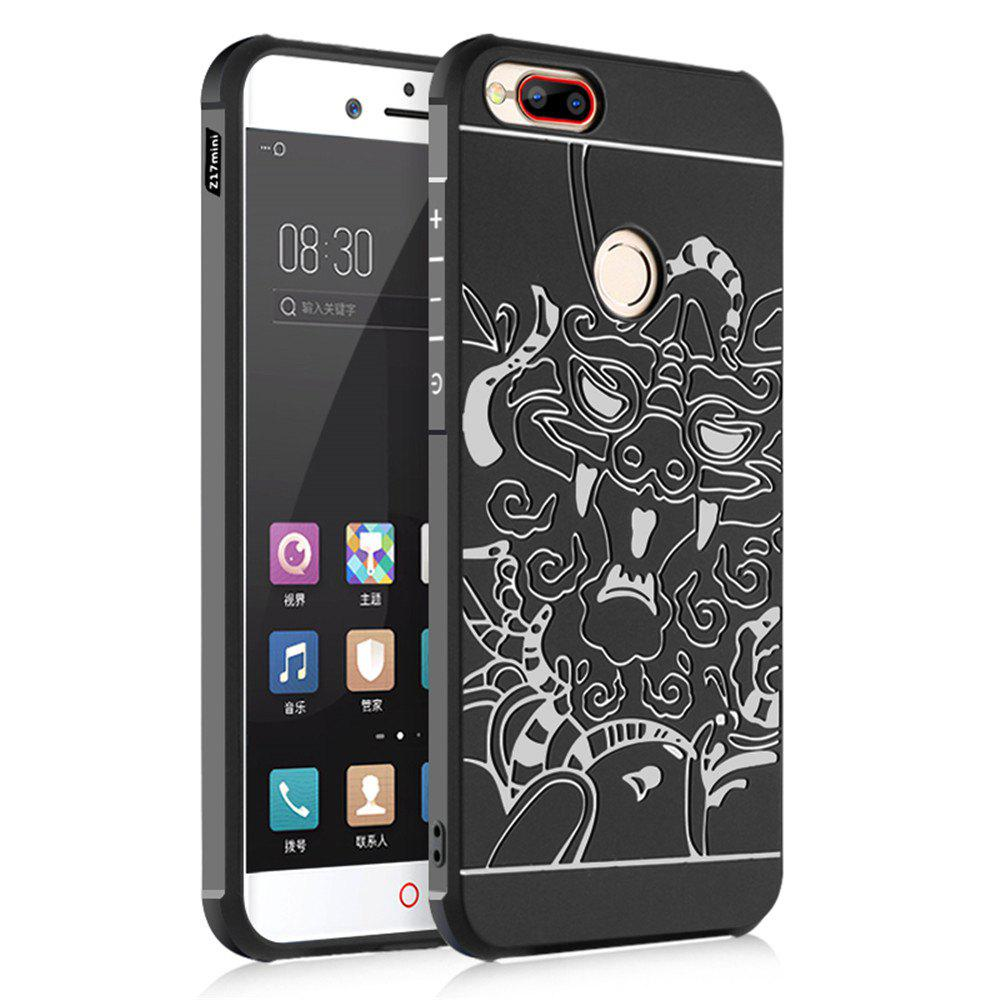 Shockproof Soft Silicone Cover for Nubia Z17 Mini Case Dragon Pattern Fashion Full Protective Phone Case - BLACK