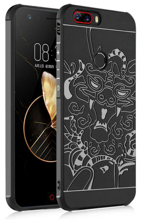 Shockproof Soft Silicone Cover for Nubia Z17 Case Dragon Pattern Fashion Full Protective Phone Case - BLACK