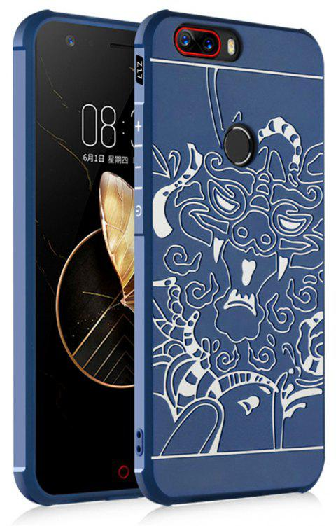 Shockproof Soft Silicone Cover for Nubia Z17 Case Dragon Pattern Fashion Full Protective Phone Case - BLUE