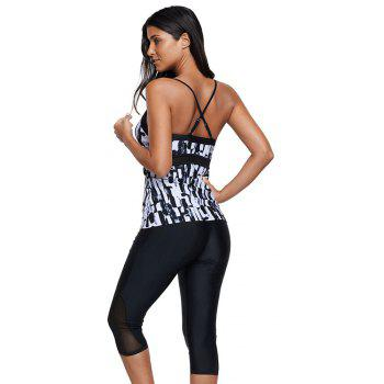Abstract Print Tankini Set - BLACK S