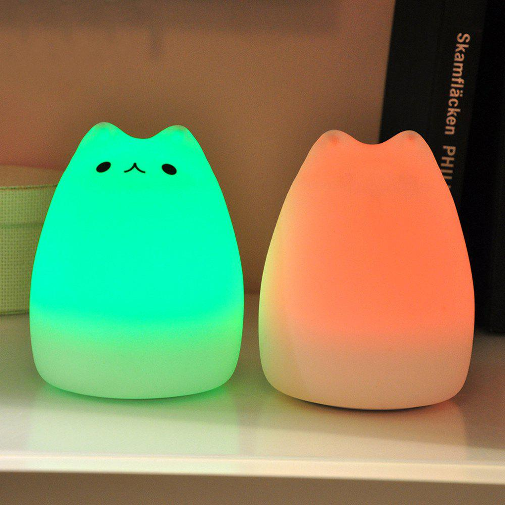 Cat Pattern Silica Gel Lamp Sleeping Animal Night Light Colorful Bed Lights - WHITE