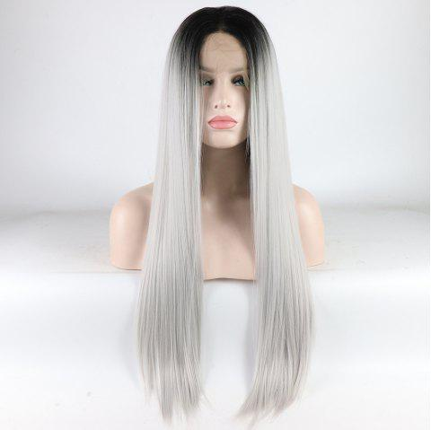 Silver Long Straight Ombre Color Black Root Heat Resistant Synthetic Hair Lace Front Wigs for Women - SILVER 14INCH