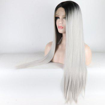 Silver Long Straight Ombre Color Black Root Heat Resistant Synthetic Hair Lace Front Wigs for Women - SILVER 22INCH