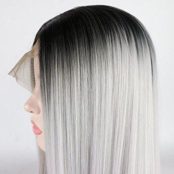 Silver Long Straight Ombre Color Black Root Heat Resistant Synthetic Hair Lace Front Wigs for Women - SILVER 20INCH