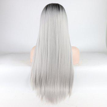 Silver Long Straight Ombre Color Black Root Heat Resistant Synthetic Hair Lace Front Wigs for Women - SILVER 16INCH