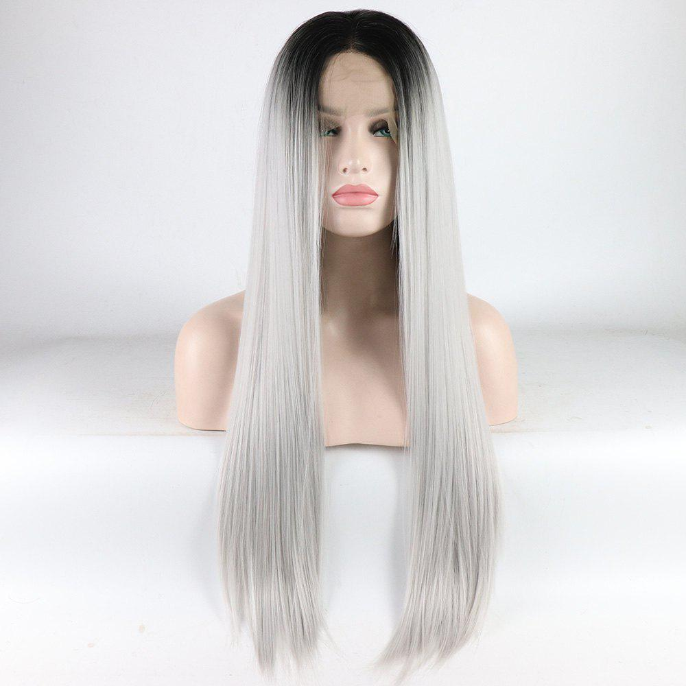 Silver Long Straight Ombre Color Black Root Heat Resistant Synthetic Hair Lace Front Wigs for Women - SILVER 24INCH