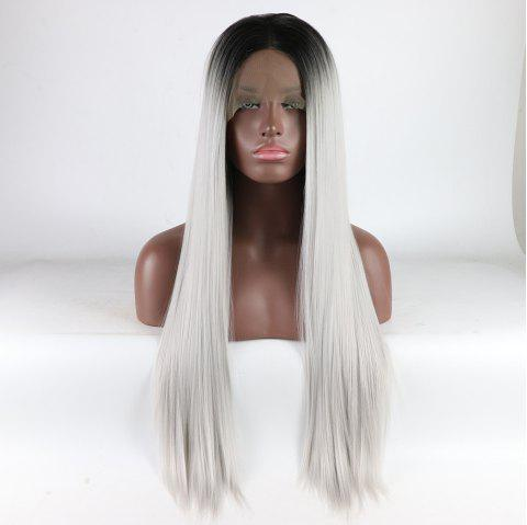 Black Root Ombre Color Long Silver Straight Heat Resistant Synthetic Hair Lace Front Wigs for Women - SILVER 24INCH