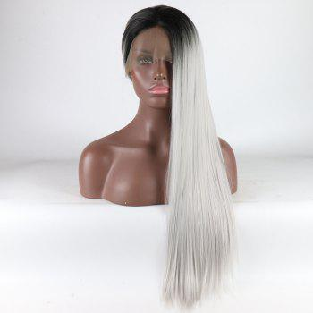 Black Root Ombre Color Long Silver Straight Heat Resistant Synthetic Hair Lace Front Wigs for Women - SILVER 26INCH
