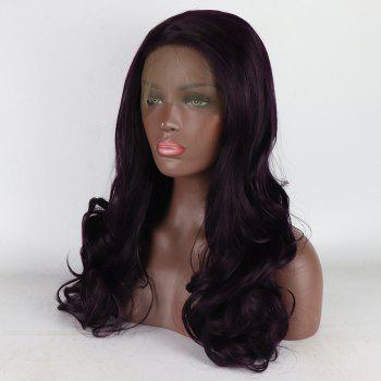 Brown Color Long Curly Heat Resistant Synthetic Hair Lace Front Wigs for Women - BROWN 18INCH
