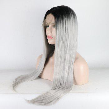 Long Straight Silver Black Root Heat Resistant Synthetic Hair Lace Front Wigs for Women - SILVER 24INCH