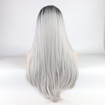 Long Straight Silver Black Root Heat Resistant Synthetic Hair Lace Front Wigs for Women - SILVER 22INCH
