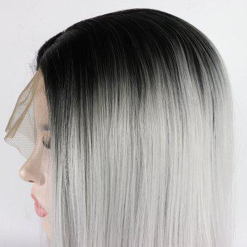 Long Straight Silver Black Root Heat Resistant Synthetic Hair Lace Front Wigs for Women - SILVER 16INCH