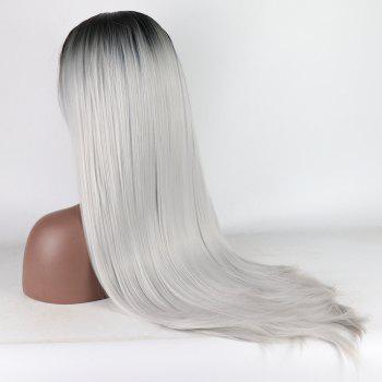 Ombre Black Root Silver Color Long Straight Heat Resistant Synthetic Hair Lace Front Wigs for Women - SILVER 24INCH