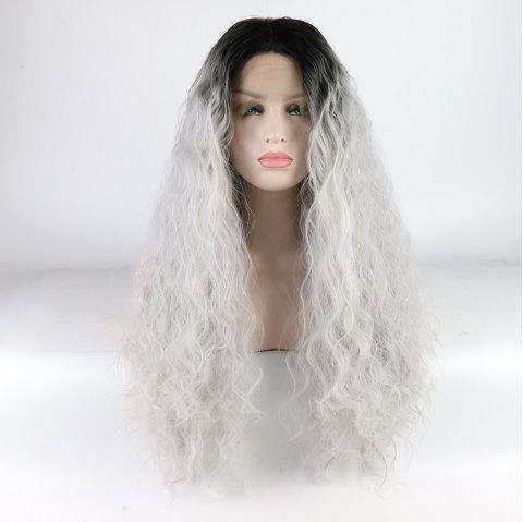 Silver Color Ombre Black Root Long Curly Heat Resistant Synthetic Hair Lace Front Wigs for Women - SILVER 24INCH