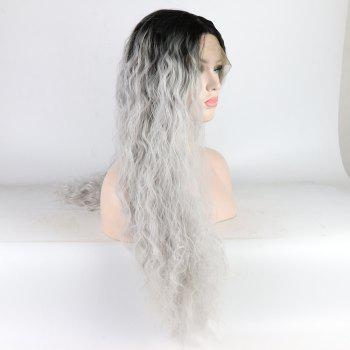 Silver Color Ombre Black Root Long Curly Heat Resistant Synthetic Hair Lace Front Wigs for Women - SILVER 26INCH