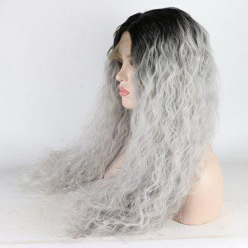 Silver Color Ombre Black Root Long Curly Heat Resistant Synthetic Hair Lace Front Wigs for Women - SILVER 18INCH