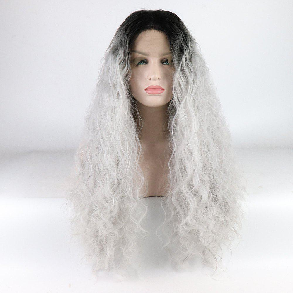 Silver Color Ombre Black Root Long Curly Heat Resistant Synthetic Hair Lace Front Wigs for Women - SILVER 16INCH