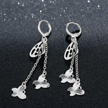 Hollow Out Butterfly Shape Tassel Long Drop Earrings Charm Jewelry - SILVER