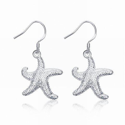 Cute Starfish Shape Drop Earrings Charm Jewelry - SILVER