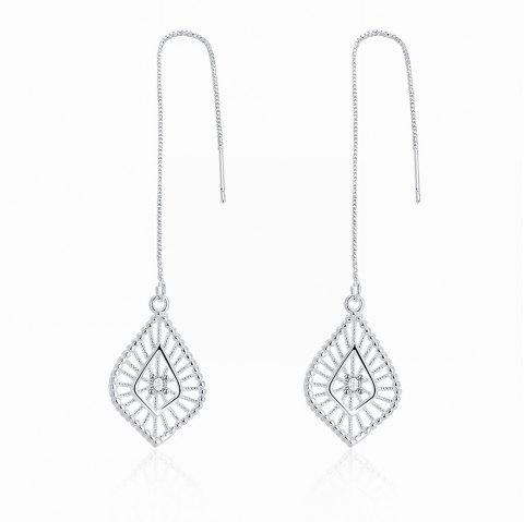 Fashion Hollow Out Leaf Shape Long Drop Earrings Charm Jewelry - SILVER