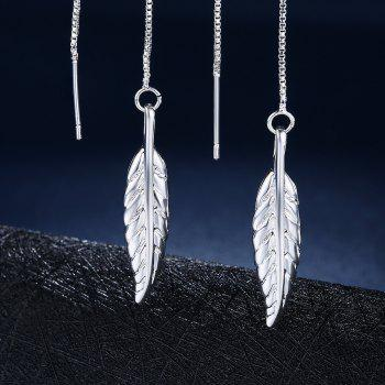 Graceful Leaf Shape Long Pendant Earrings Charm Jewelry - SILVER