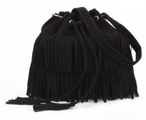 Pop Ladies Tassel Bucket Shoulder Bag - BLACK
