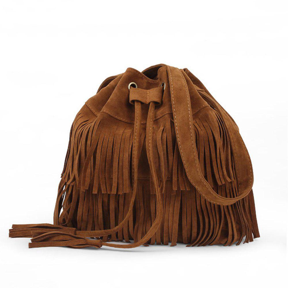 Pop Ladies Tassel Bucket Shoulder Bag - BROWN