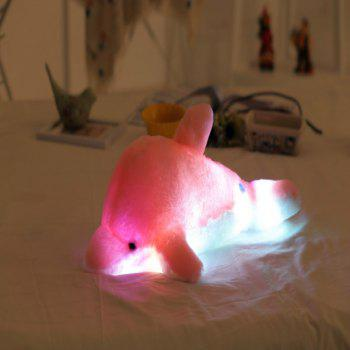 Glowing Dolphin Plush Toy Inductive Luminous with LED Lights Doll for Kids - PINK / WHITE 45CM