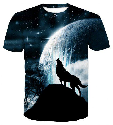 Short Sleeve Wolf Print T-Shirt - ANIMAL SERIES 6XL