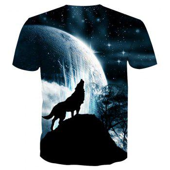 Short Sleeve Wolf Print T-Shirt - ANIMAL SERIES L