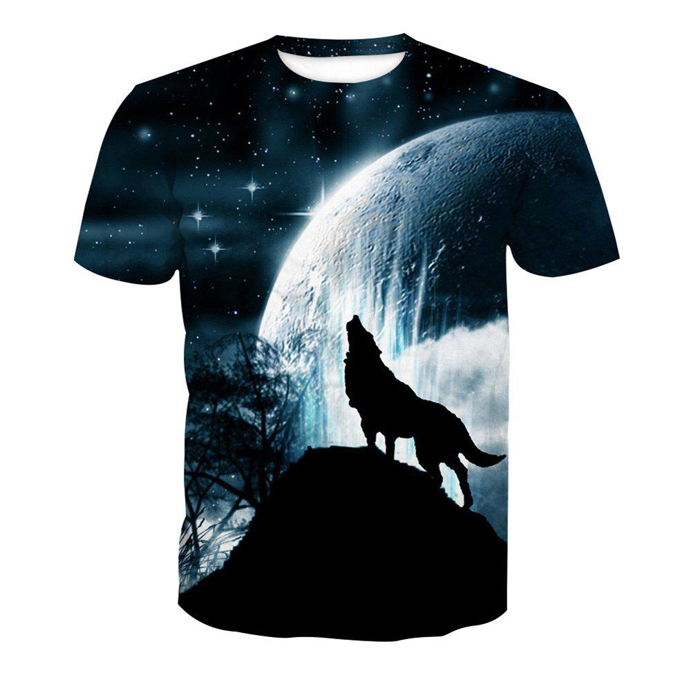 Short Sleeve Wolf Print T-Shirt - ANIMAL SERIES 3XL