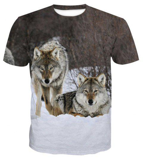 Wolf Short-Sleeved Printing T-Shirt - ANIMAL HEAD 2XL