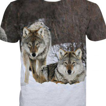Wolf Short-Sleeved Printing T-Shirt - ANIMAL HEAD 6XL