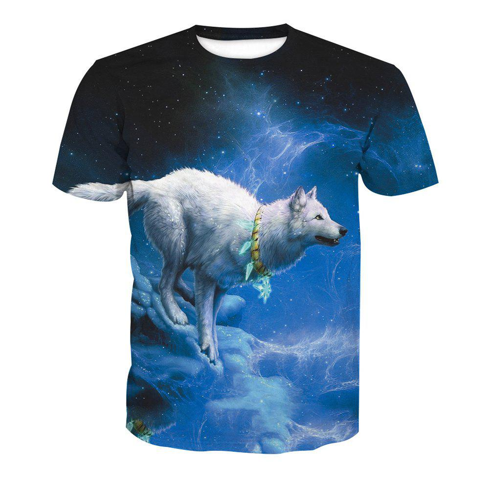 Short Sleeve Printing Wolf T-Shirt - ANIMAL HEAD 2XL