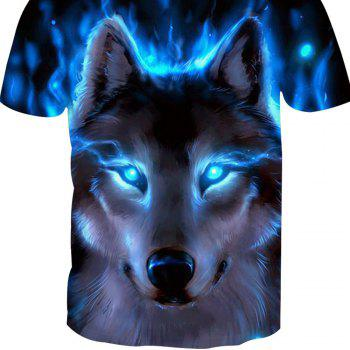 Short Sleeve Print Wolf T-Shirt - ANIMAL HEAD 6XL