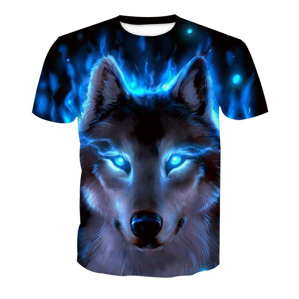 Short Sleeve Print Wolf T-Shirt - ANIMAL HEAD XL