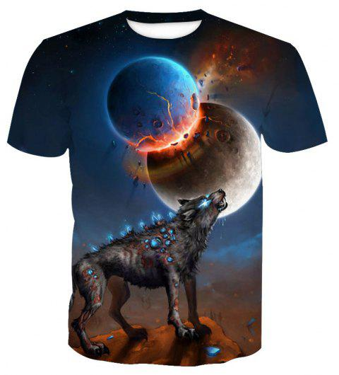 Printed Short Sleeve Wolf T-Shirt - ANIMAL SERIES XL