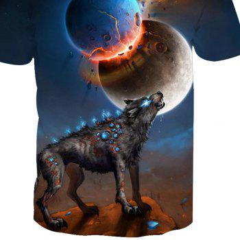 Printed Short Sleeve Wolf T-Shirt - ANIMAL SERIES 2XL