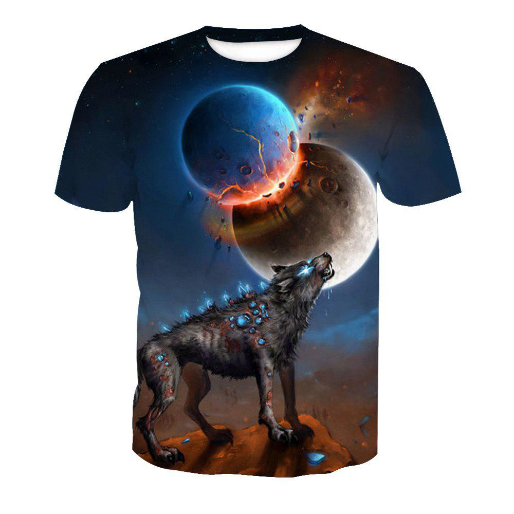 Printed Short Sleeve Wolf T-Shirt - ANIMAL SERIES 6XL