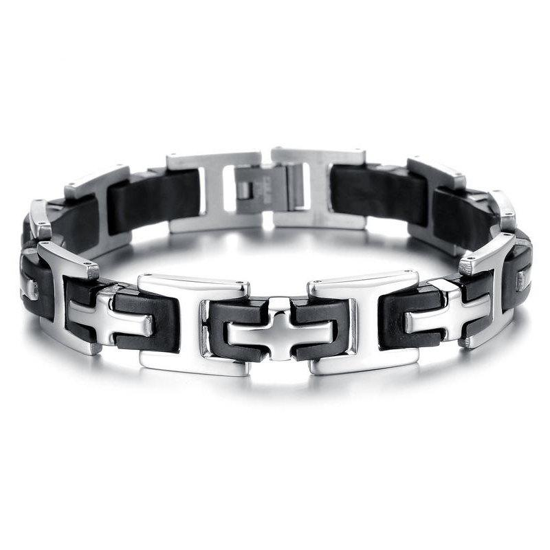 Men's Silicone Bracelet Fashion  Stainless Steel Magnetic Clasp Bangle - BLACK