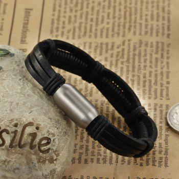 Korean Fashion Men's Leather Braided Cuff Bracelet Stainless Steel Magnetic Clasp Bangle - BLACK