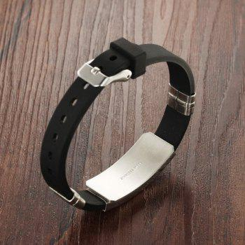 Fashion Men's Bracelet Wristband Stainless Steel Magnetic Clasp Bangle - BLACK D