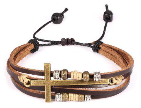 Jewelry Vintage Brown Gold Alloy Leather Bracelet Cross Religious Christian Multi Rope Wrap Bangle Adjustable - BROWN