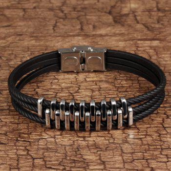 Braided Leather Bracelet for Men Bangle Wrap Stainless Steel Magnetic-Clasp - BLACK