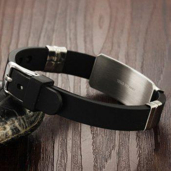 Fashion Stainless Steel Magnetic Clasp Leather Wristband Bracelet - BLACK D